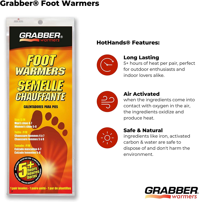 Grabber Foot Warmers 3 Pair Pack Small Medium