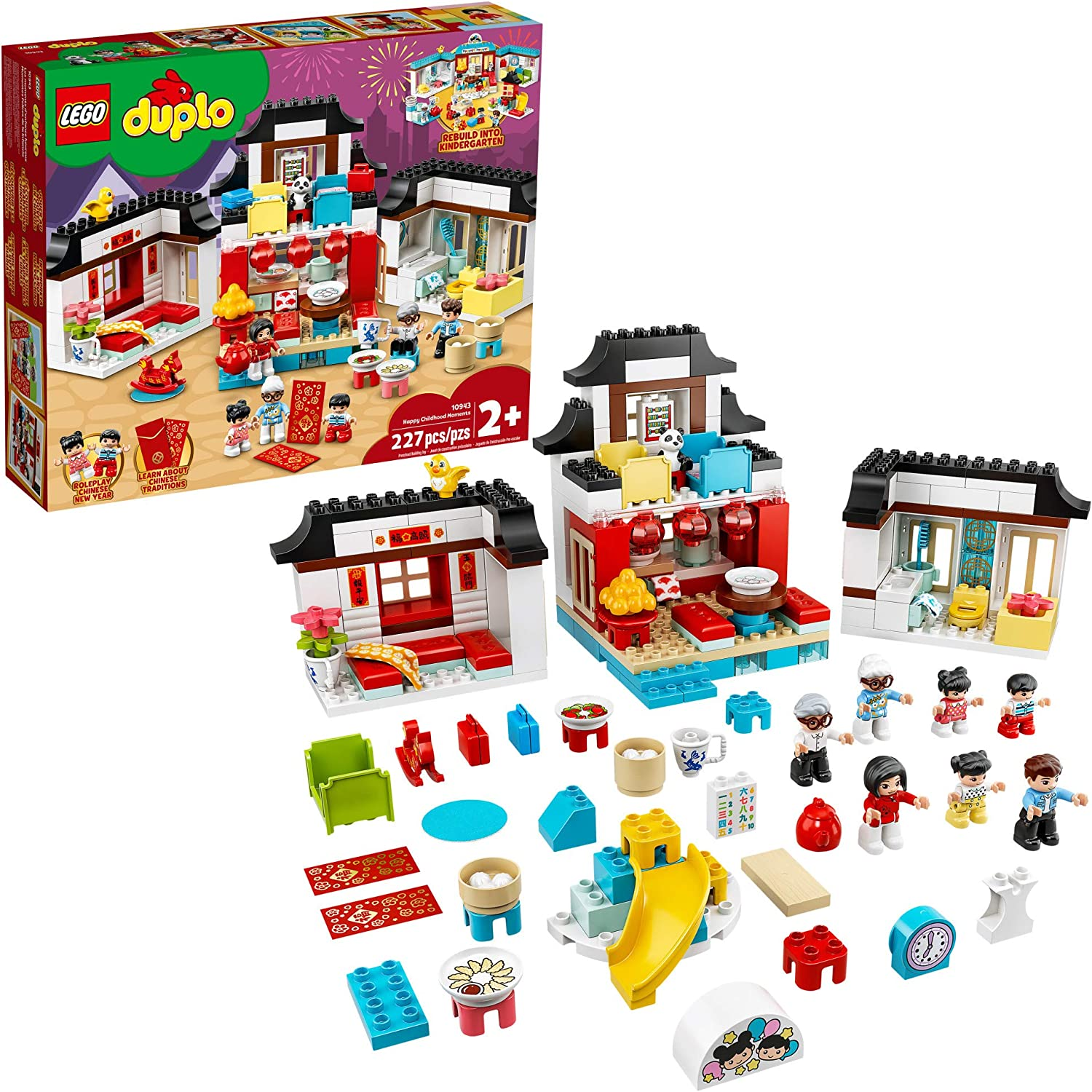 LEGO DUPLO Town Happy Childhood Moments 10943 Family House Toy Playset; Imaginative Play and Creative Fun for Kids, New 2021 (227 Pieces)