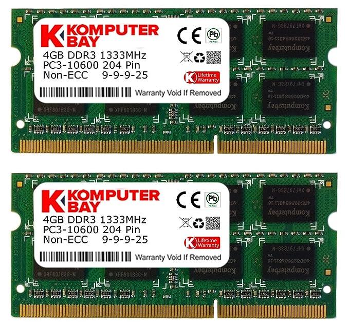Komputerbay 16GB (2x 8GB) PC3-10600 10666 1333MHz SODIMM 204-Pin Memoria portátil 9-9-9-24 sólo para PC: Amazon.es: Electrónica