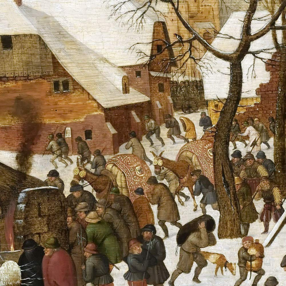 Dipinti Paesaggi Decorazione da Parete Riproduzioni Quadro Stampa su Tela Arrotolata 120X80 cm Cacciatori nella Neve JH Lacrocon Pieter Bruegel Il Vecchio Inverno
