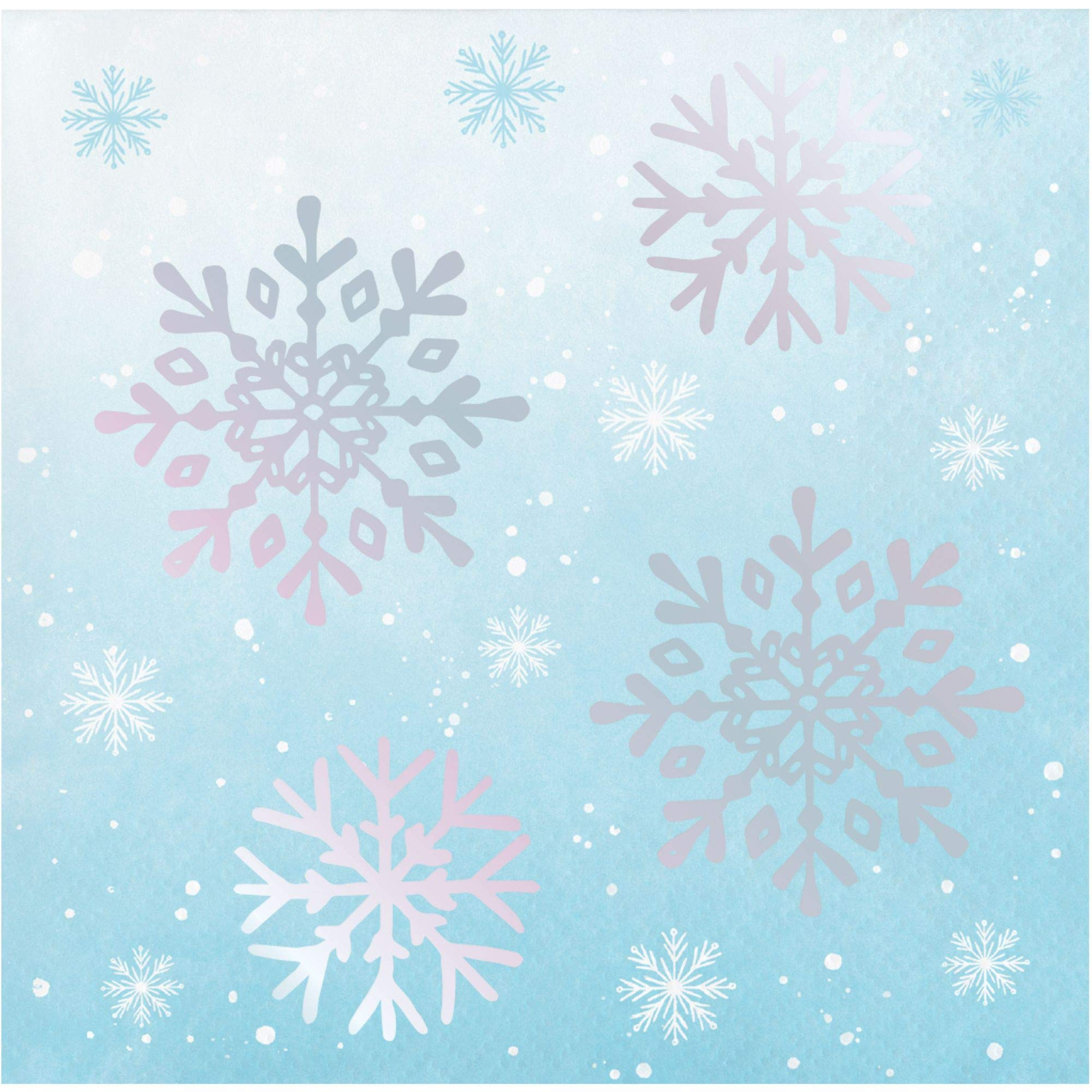 Club Pack of 288 Blue and White Iridescent Foil 3-Ply Snowflakes Printed Beverage Napkins 10''