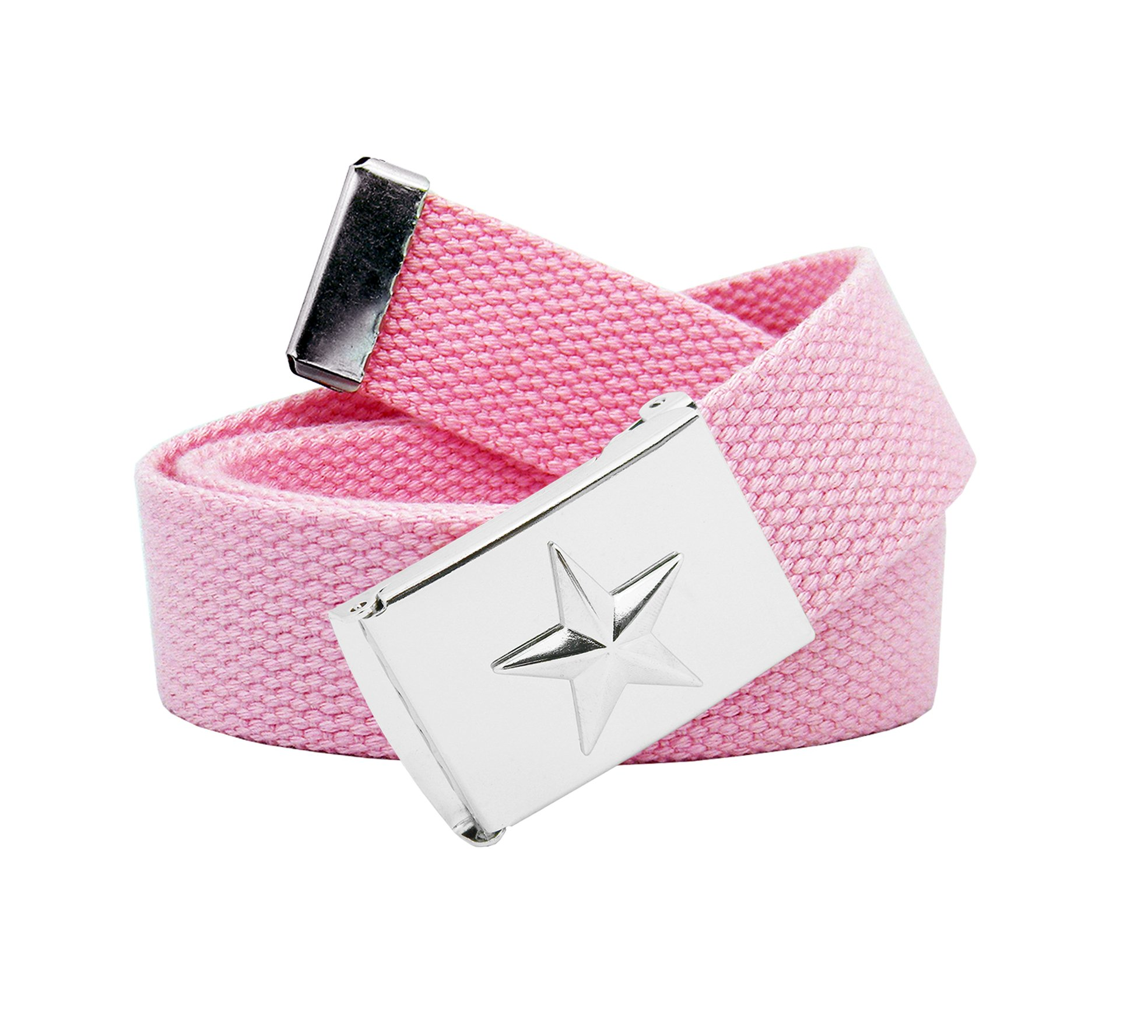 Women's Nautical Star Silver Flip Top Belt Buckle with Canvas Belt X-Large Pastel Pink
