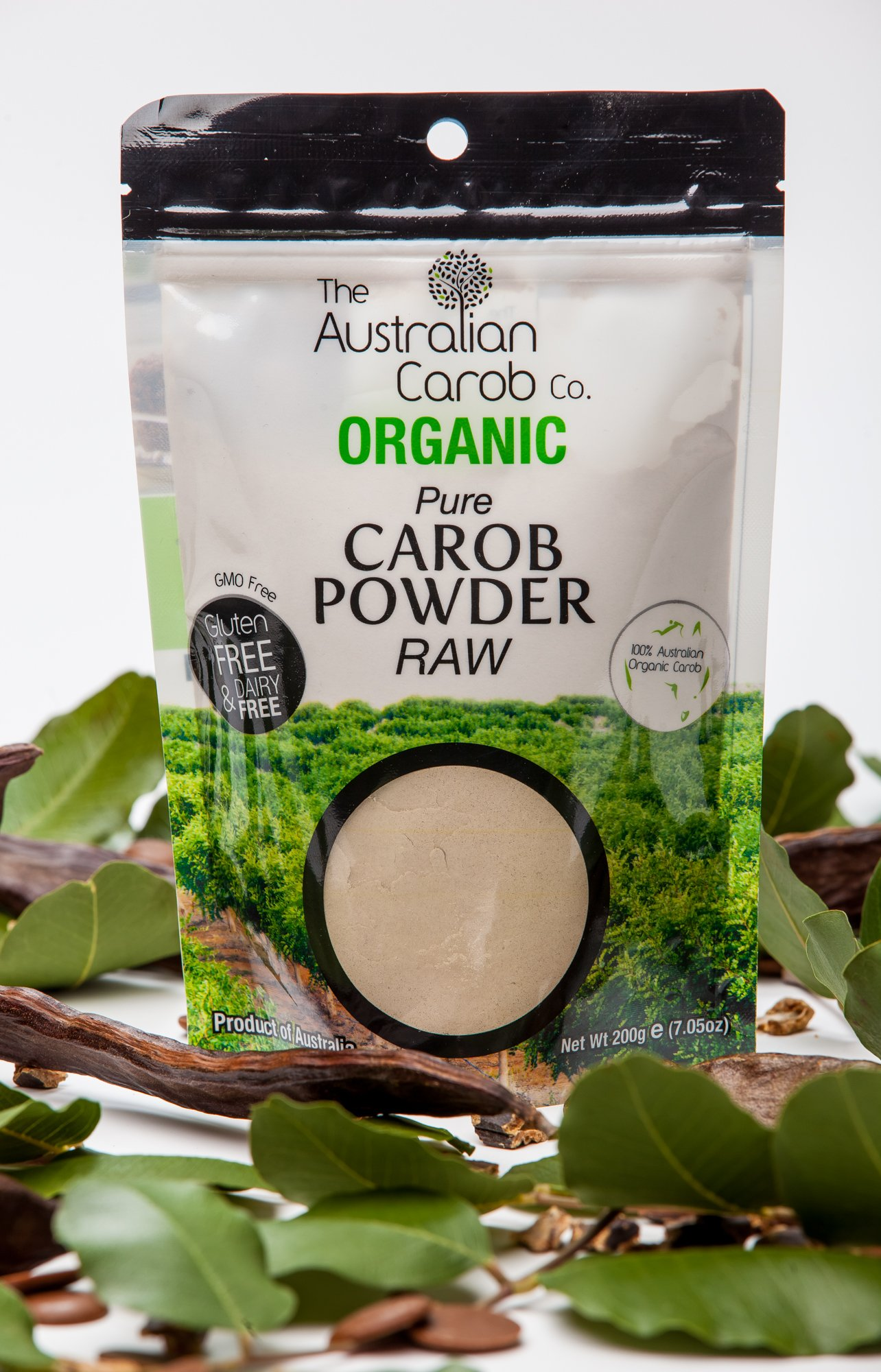 ORGANIC AUSTRALIAN CAROB CO. PREMIUM TRUE RAW CAROB POWDER, RE-SEALABLE, SUPERFOOD, PALEO, (Milled without Heat, off-white in color) NON-GMO, WORLD'S #1 BEST TASTING RAW CAROB, ORGANIC, CAROB, 7.05oz
