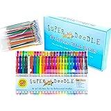 Super Doodle 100 Variety Gel Pen Coloring Set- Includes 50 Unique Color Gel Pens + 50 Matching Refills + NEW Gift Box (Brown