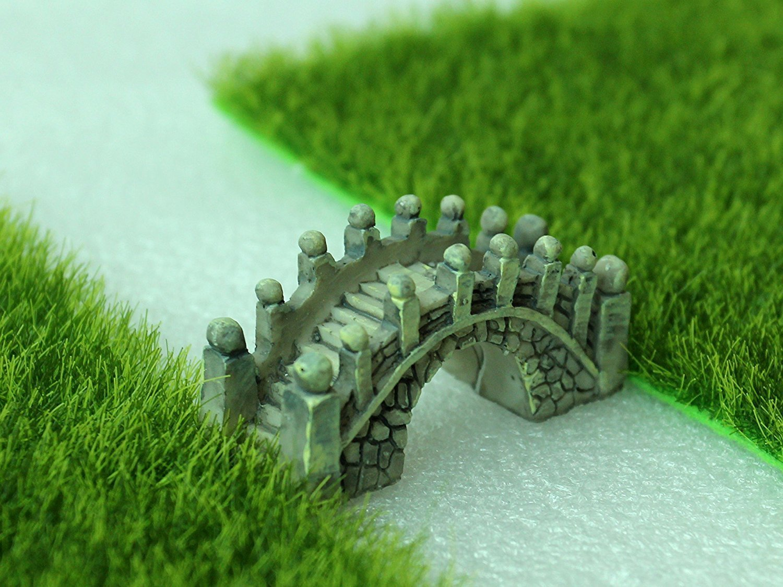 Nalmatoionme Creativo Resina Miniatura Bridge Fairy Garden Doll House Figurine Statue Home Decor Ornamento (Grigio)
