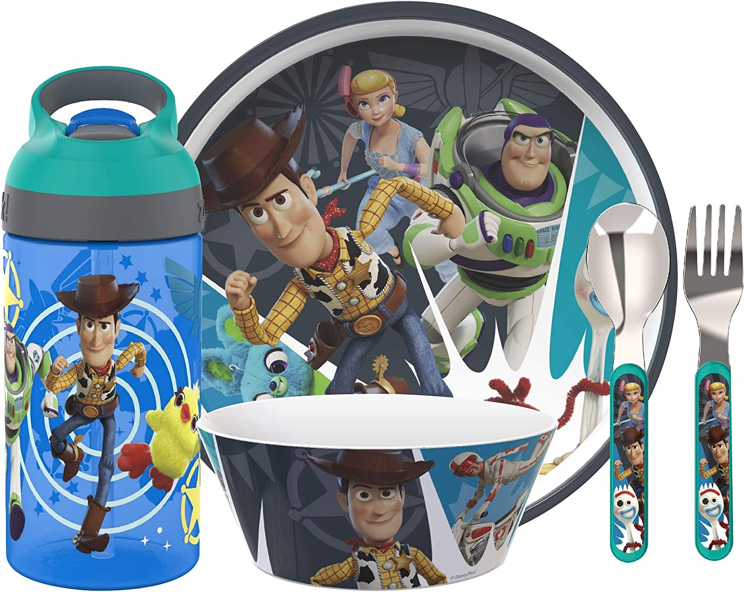 Zak Designs Toy Story 4 Dinnerware Set Includes Plate  Bowl  Water Bottle  and Utensil Tableware  Made of Durable Material and Perfect for Kids  Woody and Buzz Lightyear  5 Piece set  BPA Free