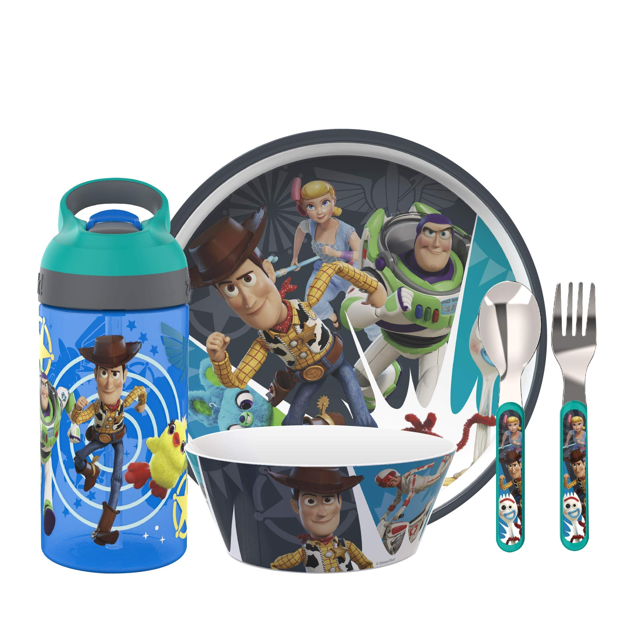 Zak Designs Toy Story 4 Dinnerware Set Includes Plate, Bowl, Water Bottle, and Utensil Tableware, Made of Durable Material and Perfect for Kids (Woody and Buzz Lightyear, 5 Piece set, BPA Free)