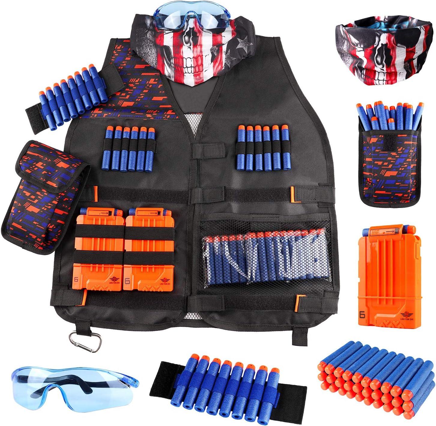 Tactical Vest Kit For Nerf Guns Boys Game Gun Strike Foam Darts Mask Glasses US