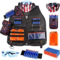 Kids Tactical Vest Kit for Nerf Guns N-Strike Elite Series with Refill Darts Dart Pouch, Reload Clip Tactical Mask Wrist…