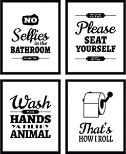 DecorShop Bathroom Wall Decor Prints - Black & White Art Sign - Start your Day with a Laugh and make your Bathrooms Look Amazing - Enjoy your Funny Signs for Decades-Poster Set Sayings on Sturdy Paper