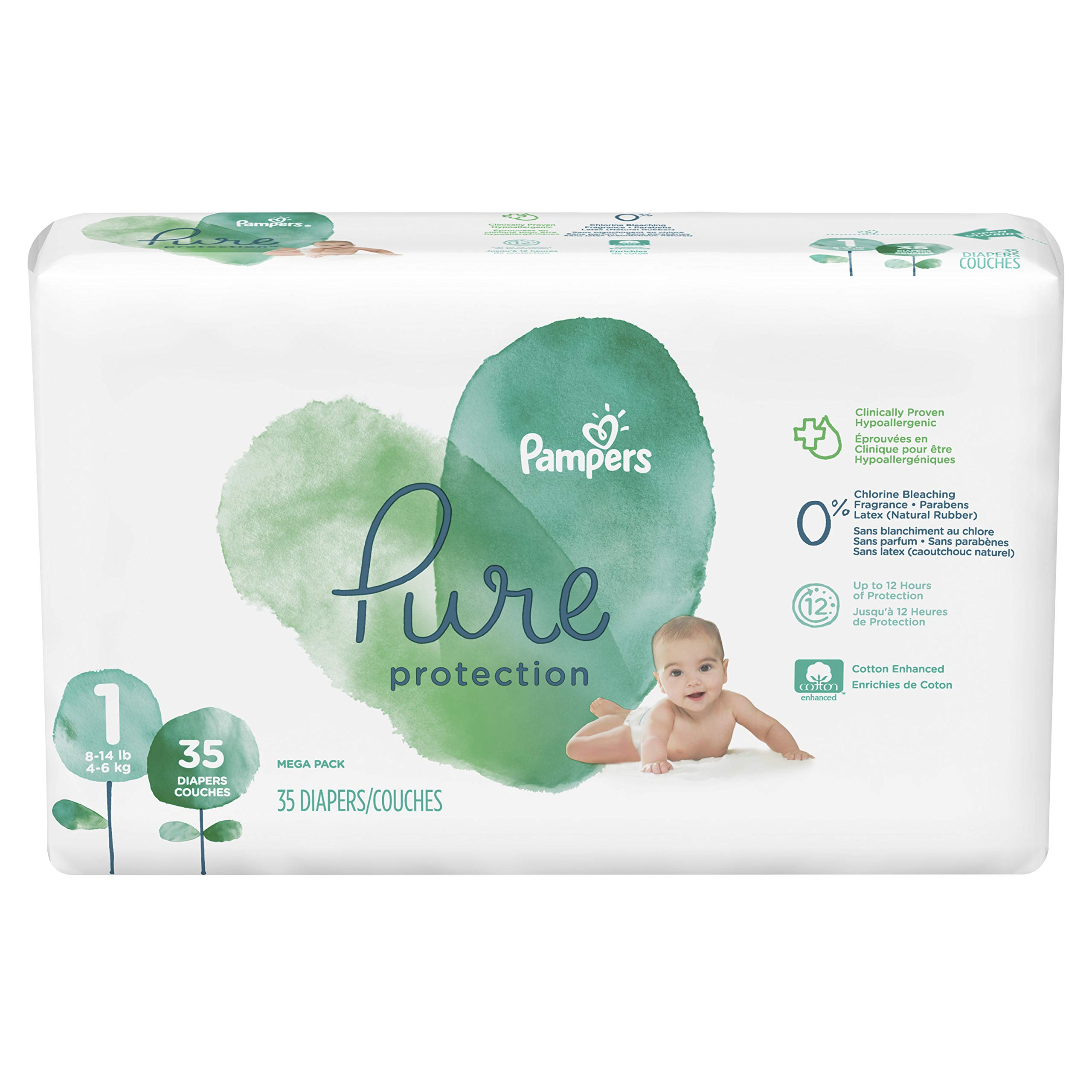 Diapers Newborn/Size 1 (8-14 lb), 35 Count - Pampers Pure Protection Disposable Baby Diapers, Hypoallergenic and Unscented Protection, Mega Pack
