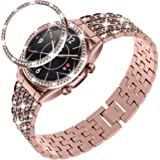DABAOZA Compatible for Samsung Galaxy Watch 3 41mm Band with Bezel ,Bling women girl Dressy Replacement Strap Full Sparkling