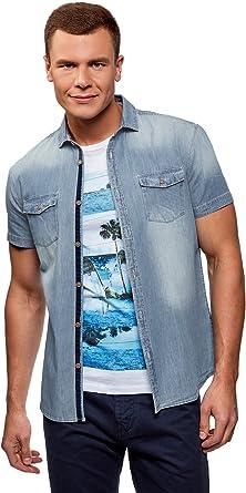 oodji Ultra Hombre Camisa Vaquera Entallada, Azul, сm 44 / ES 56 / XL: Amazon.es: Ropa y accesorios