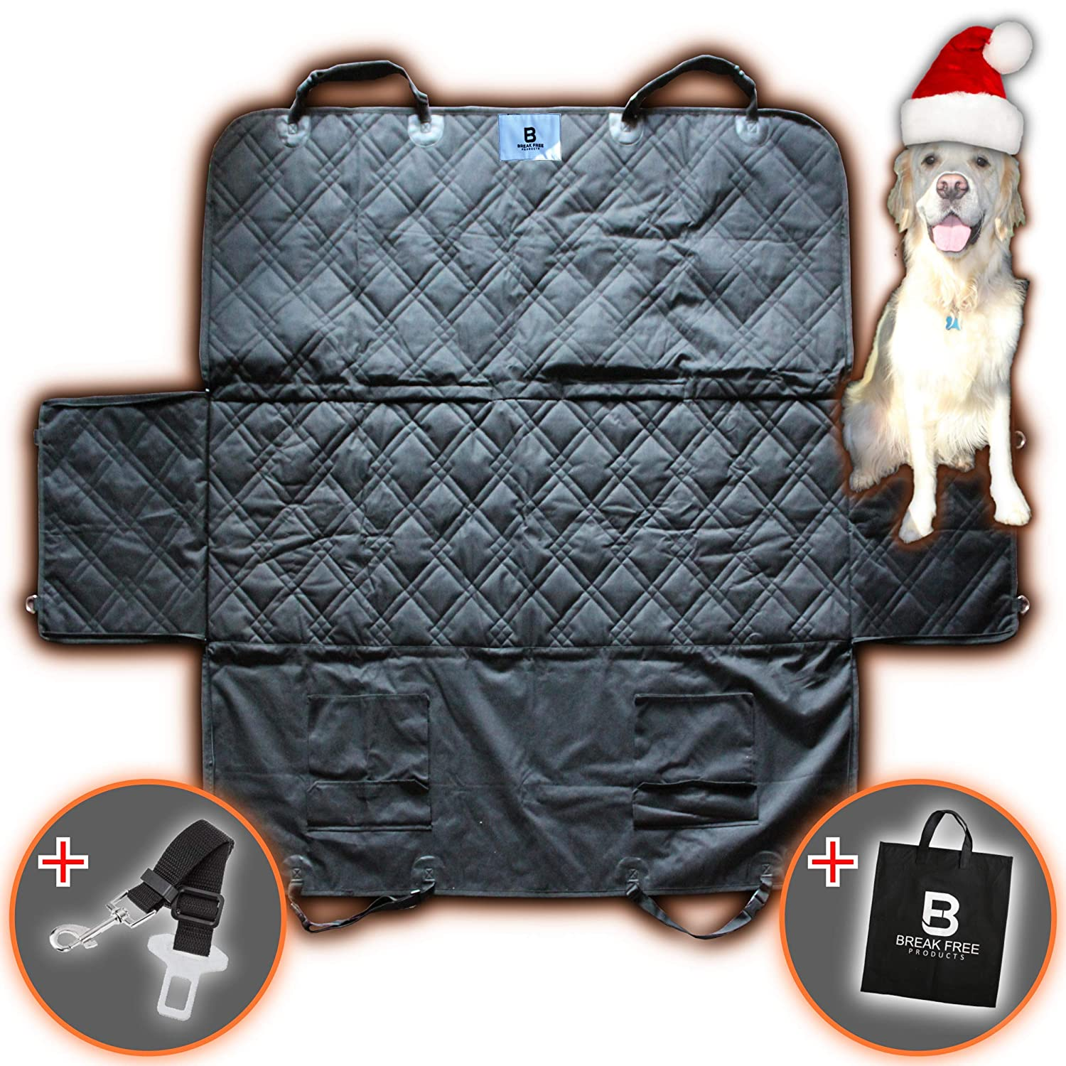 Dog Car Seat Cover, Heavy Duty, Luxury, High Quality, Waterproof & Non Slip Car Dog Seat Covers, Car Protection, Machine Washable, Dog Car Cover, Extra Storage, Easy Install, Universal Size (58'x54') Universal Size (58x54) Break Free Products CSC-08/09F