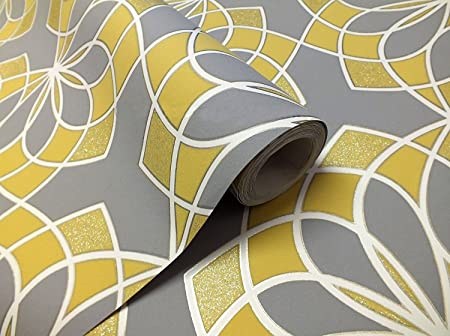 Geometric Wallpaper Modern Glitter Embossed Bold Funky Grey Yellow White Rasch