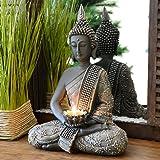 Bouddha Statuette chinois 31cm avec chandelier décoration zen pour intérieur feng shui