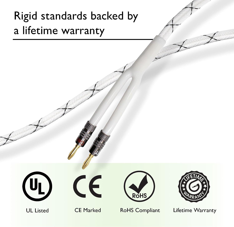 GearIT 14/AWG Premium resistente trenzado cable para altavoces