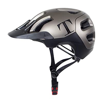 Tommaso Enduro MTB and Road Cycling Helmet Removable Visor, Adjustable Fit, 4 Colors Matte Black, White, Titanium, Yellow, Fully Certified Safety Protection - Titanium: Automotive