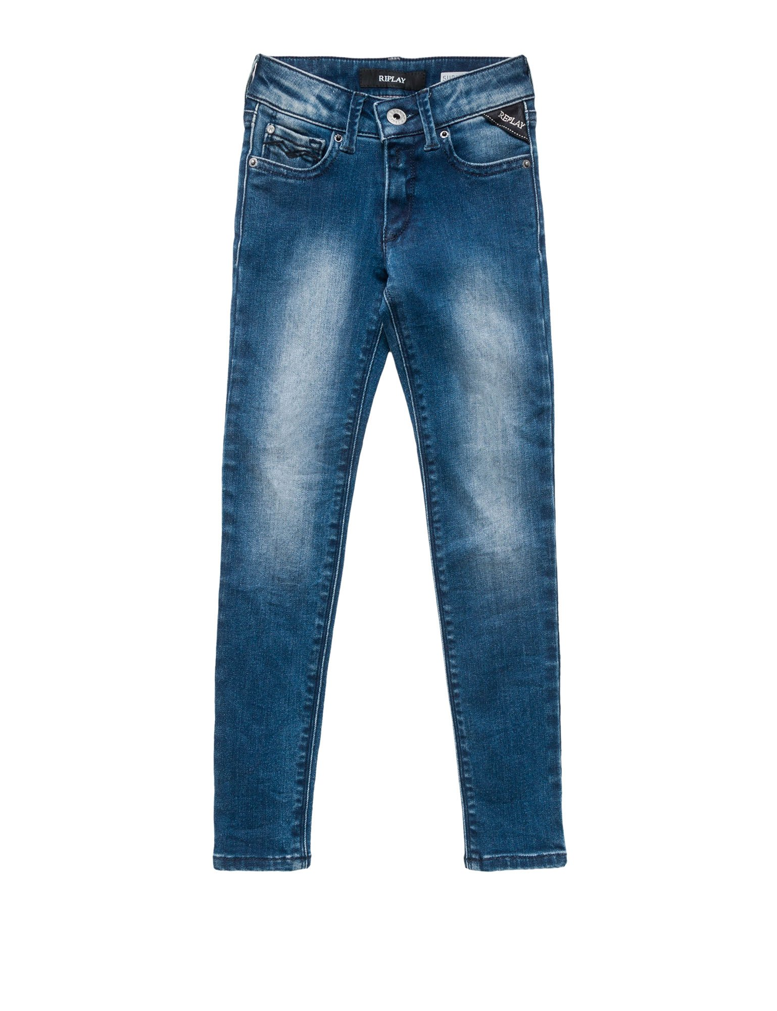 Replay 10,5 Oz Power Stretch Denim Girl's Pants In Size 6 Years Blue