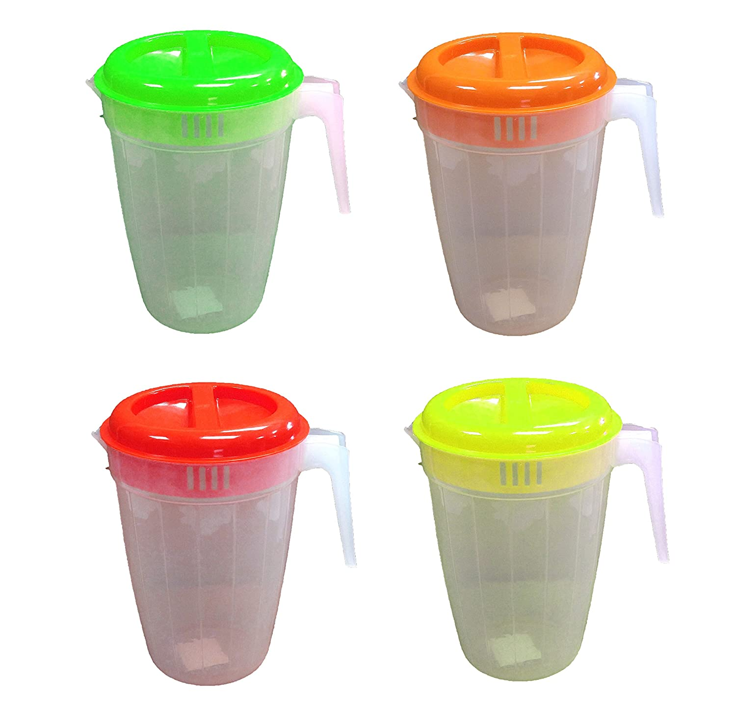 27014P Set of 4 Black Duck Brand Plastic Pitcher with 2-Slotted Lid and Handle in 4 Different Colors Regent Product Corp