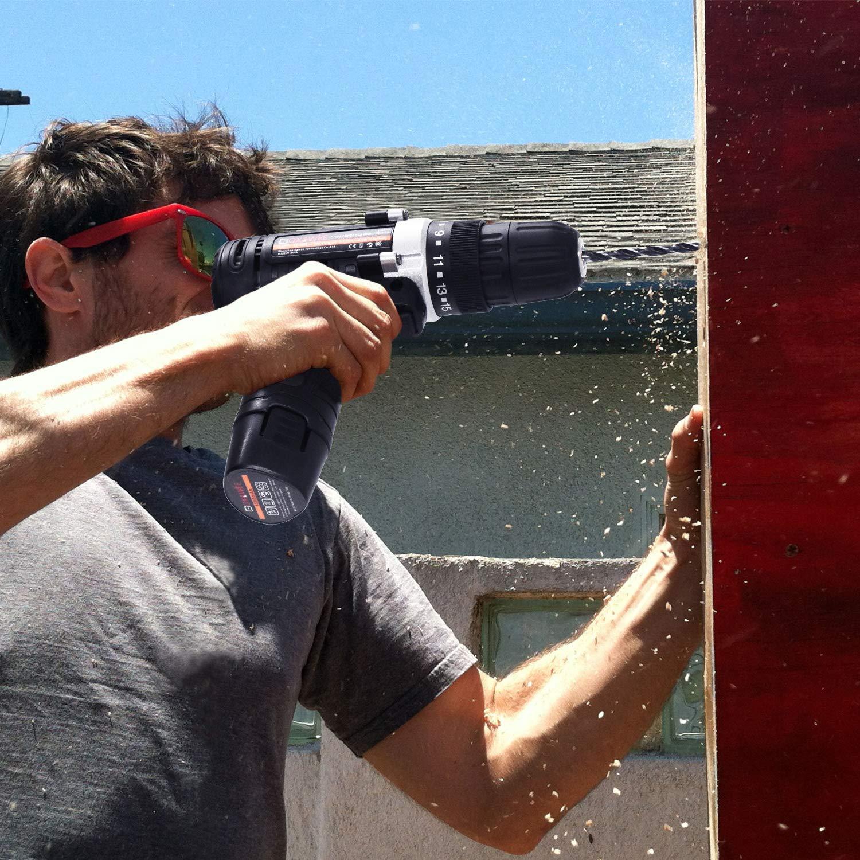 Akkuschrauber, GOXAWEE Akku-Bohrschrauber Set mit 2 Akku, Drehmoment Max 30Nm, 2-Gang, 10mm Schnellspannbohrfutter, 100-tlg Zubehör