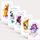 """Tiny Love Cards - Set of 85 Cute Mini Cards for Any Occasion - 2"""" x 3.5"""", Small Blank Note Cards (Party Animals: 5 Design Variety Set)"""