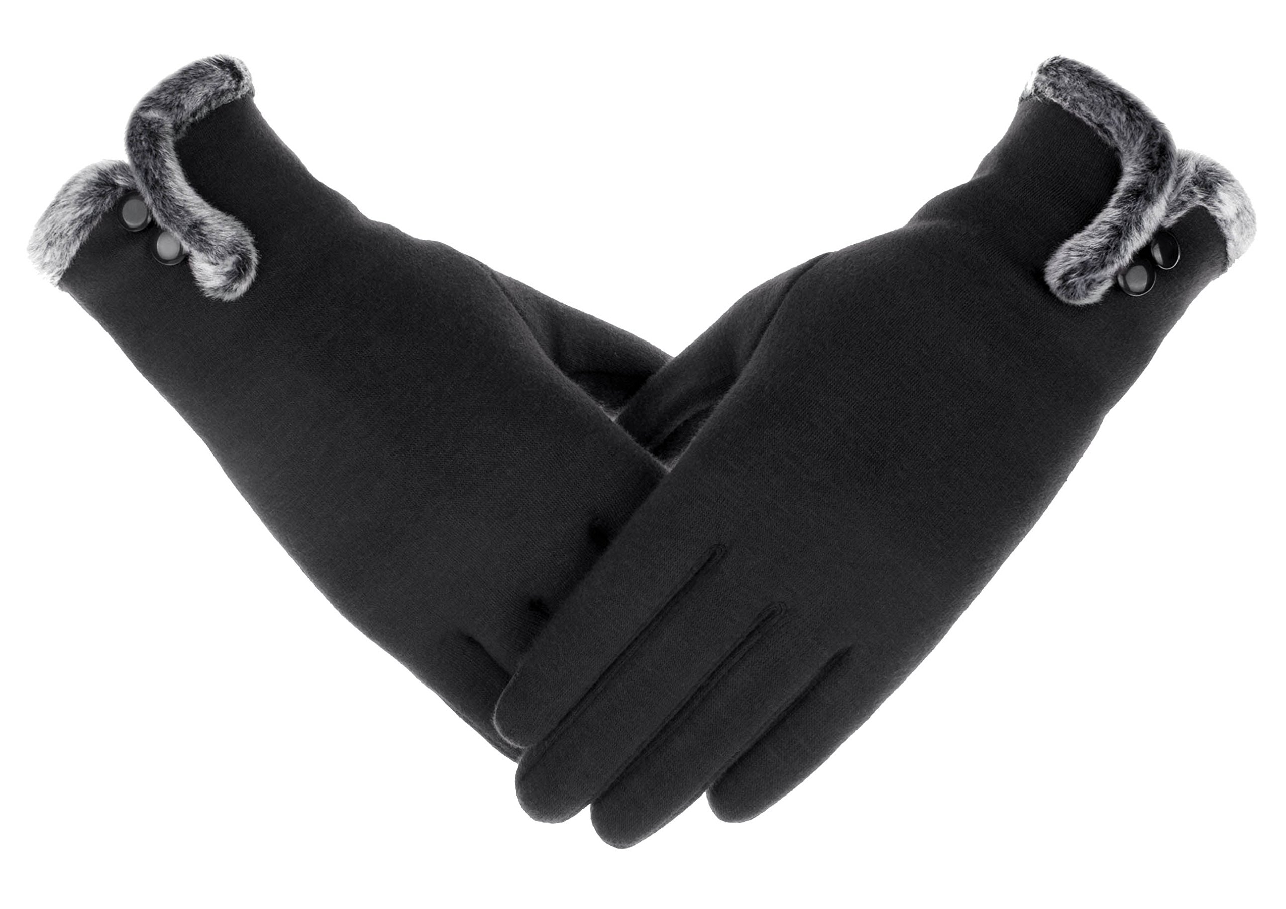 Knolee Women\'s NEW Fashion Touch Screen Warm Winter Thick Gloves With Button,Black