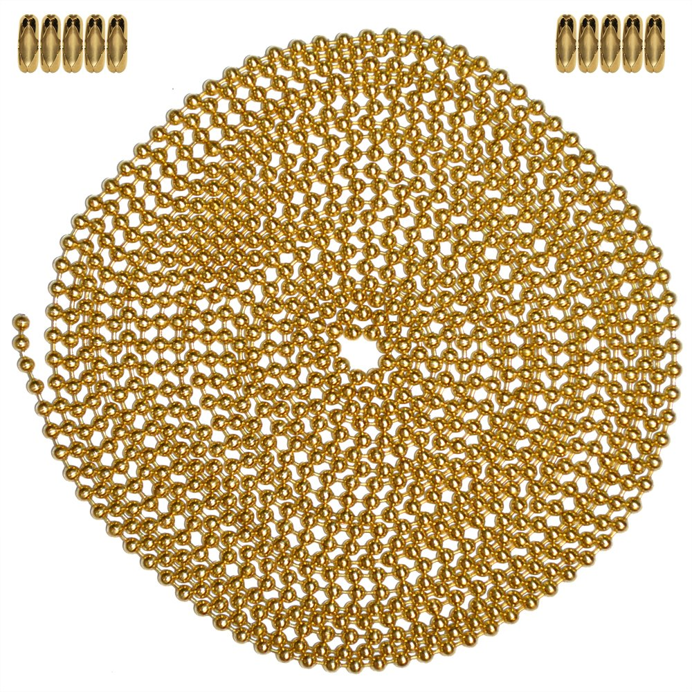 Gilding Metal 3 Size Inc 10 Foot Length Ball Chain 10 Matching Connectors Ball Chain Manufacturing Co 5559007003