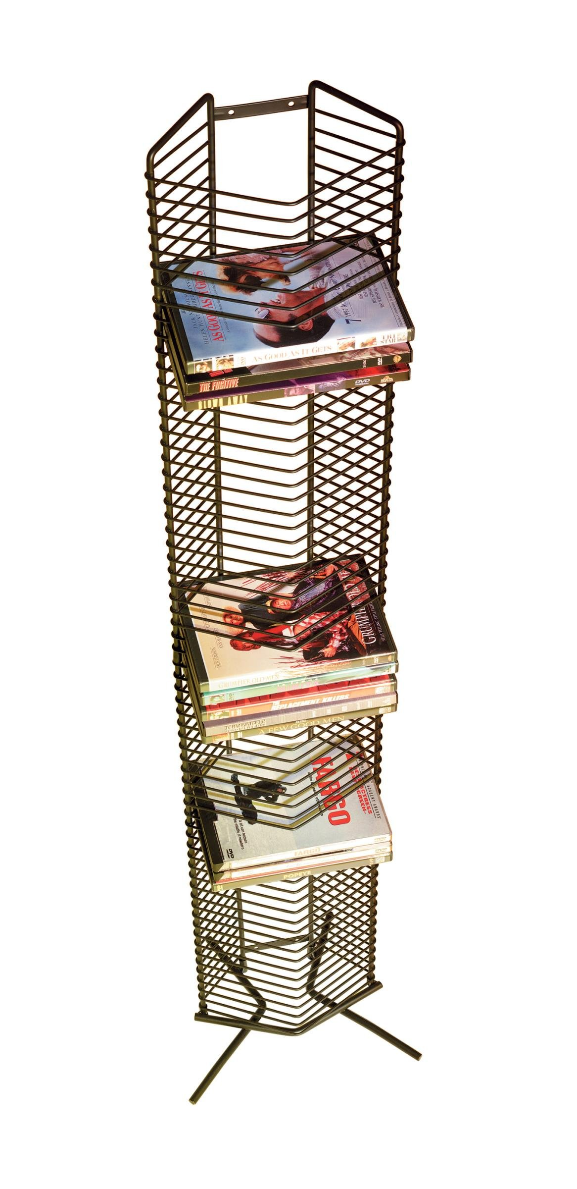 Atlantic Onyx 1332 Wire CD-Tower - Holds 65 CDs in Matte Black Steel, PN 1332