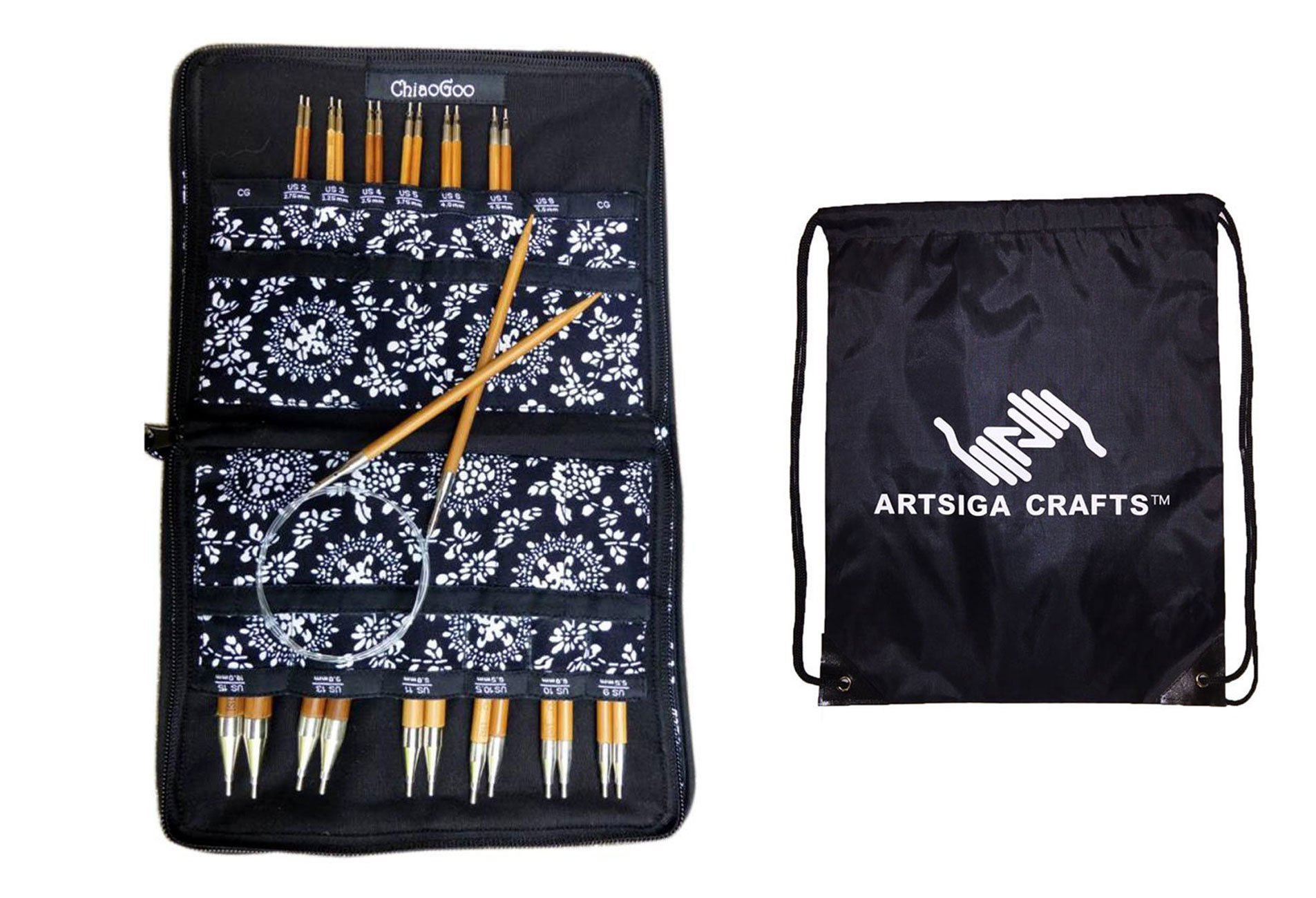 ChiaoGoo Spin Interchangeable Knitting Needle Set Complete: Size US 2 (2.75mm)-Size US 15 (10mm) Bundle with 1 Artsiga Crafts Project Bag 2500-C