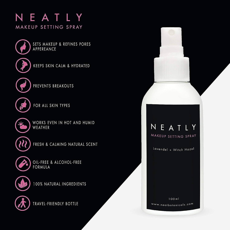 Spray de maquillaje Neatly | Maquillaje natural 100 ml | Spray de fijación para el cuidado de la piel | Aceite de lavanda y avellana de bruja | Alternativa ...
