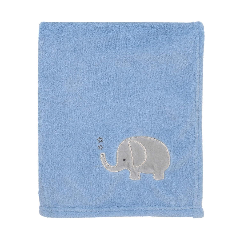 NoJo Light Blue with Grey Elephant Super Soft Baby Blanket, Blue, Grey