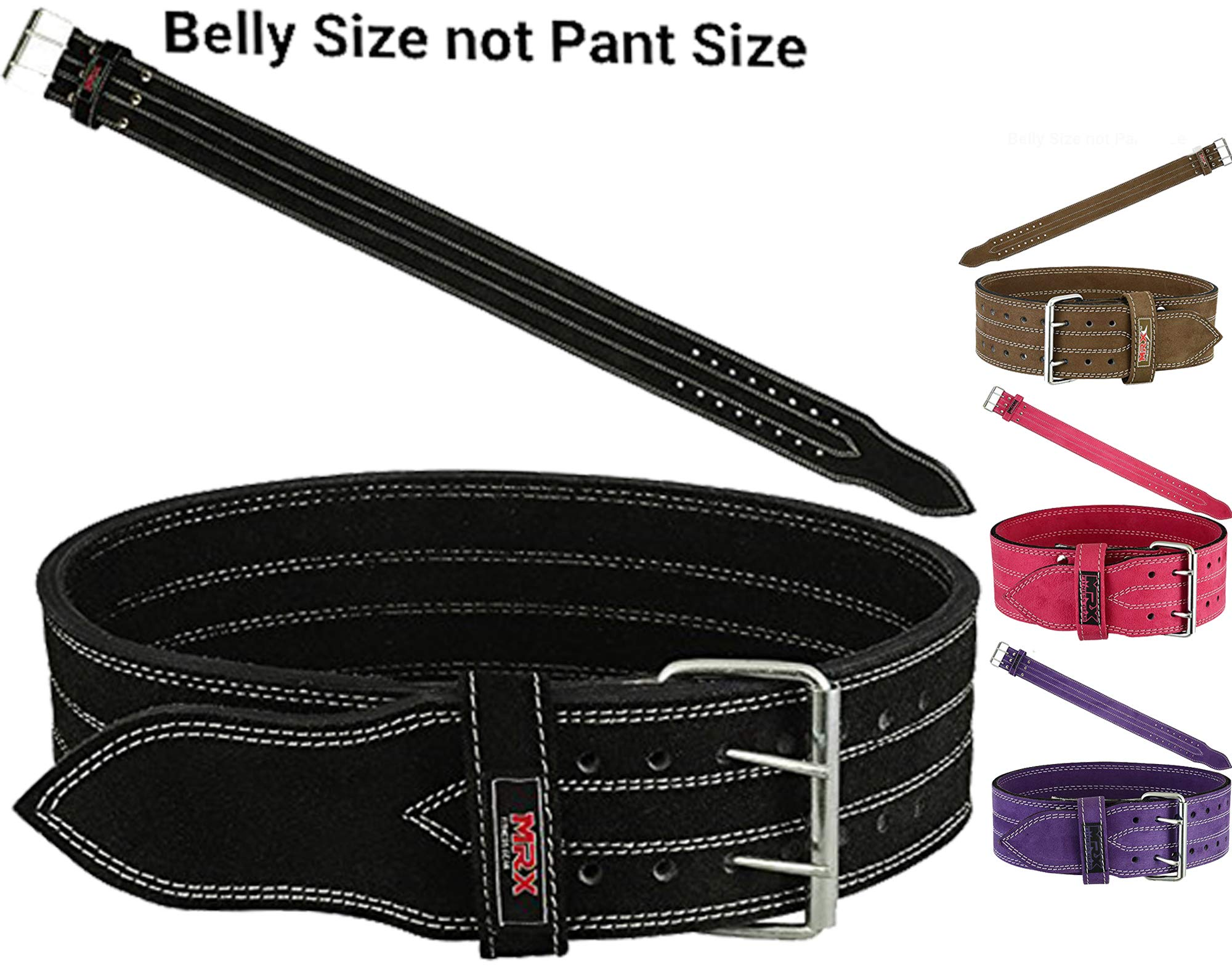 MRX Powerlifting Leather Belt 4'' Wide 10mm Thickness Training Fitness Back Support Bodybuilding Belts with Steel 2 Prong Buckle Black (XXL)