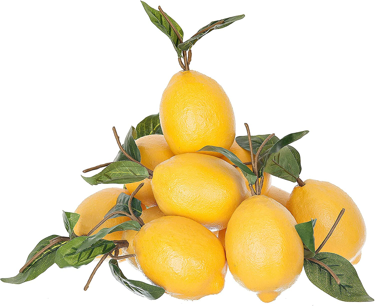 Artificial Fruit Lemons Set Of 12 With Green Leaves Party Decoration Or Home Decor Accent Piece For Kitchen Lifelike Decoration Amazon Co Uk Kitchen Home