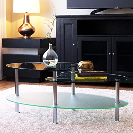 Ryan Rove Becca 38 Inch Oval Two Tier Glass Coffee Table   Clear Top And  Frosted