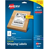 """Avery Internet Shipping Labels with TrueBlock Technology for Inkjet Printers 5-1/2"""" x 8-1/2"""", Pack of 50 (8126)"""