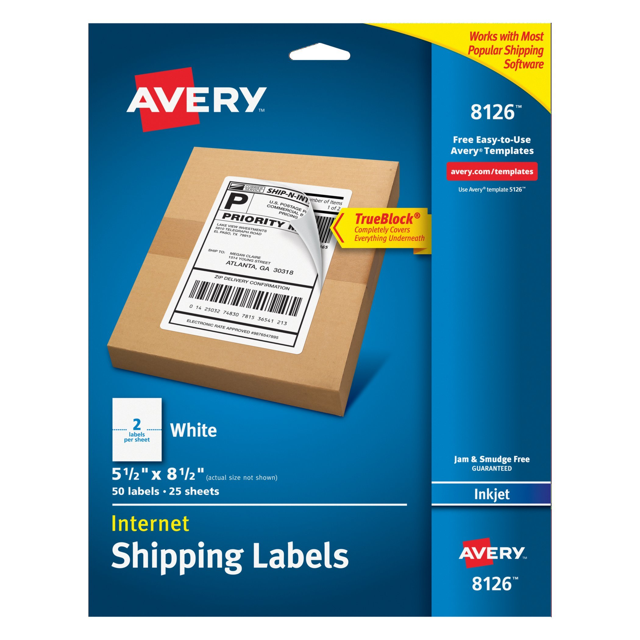 avery templates and software - permanent white shipping labels designed for easy use