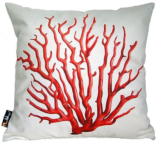 MeroWings Cojín Coral Color: Rojo/Crema: Amazon.es: Hogar