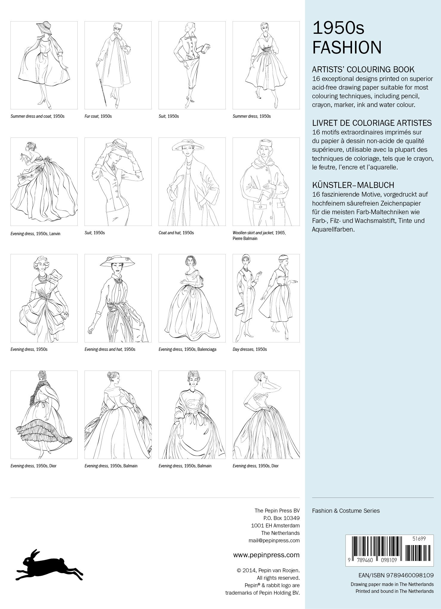 1950s Fashion (Artists Colouring Book)