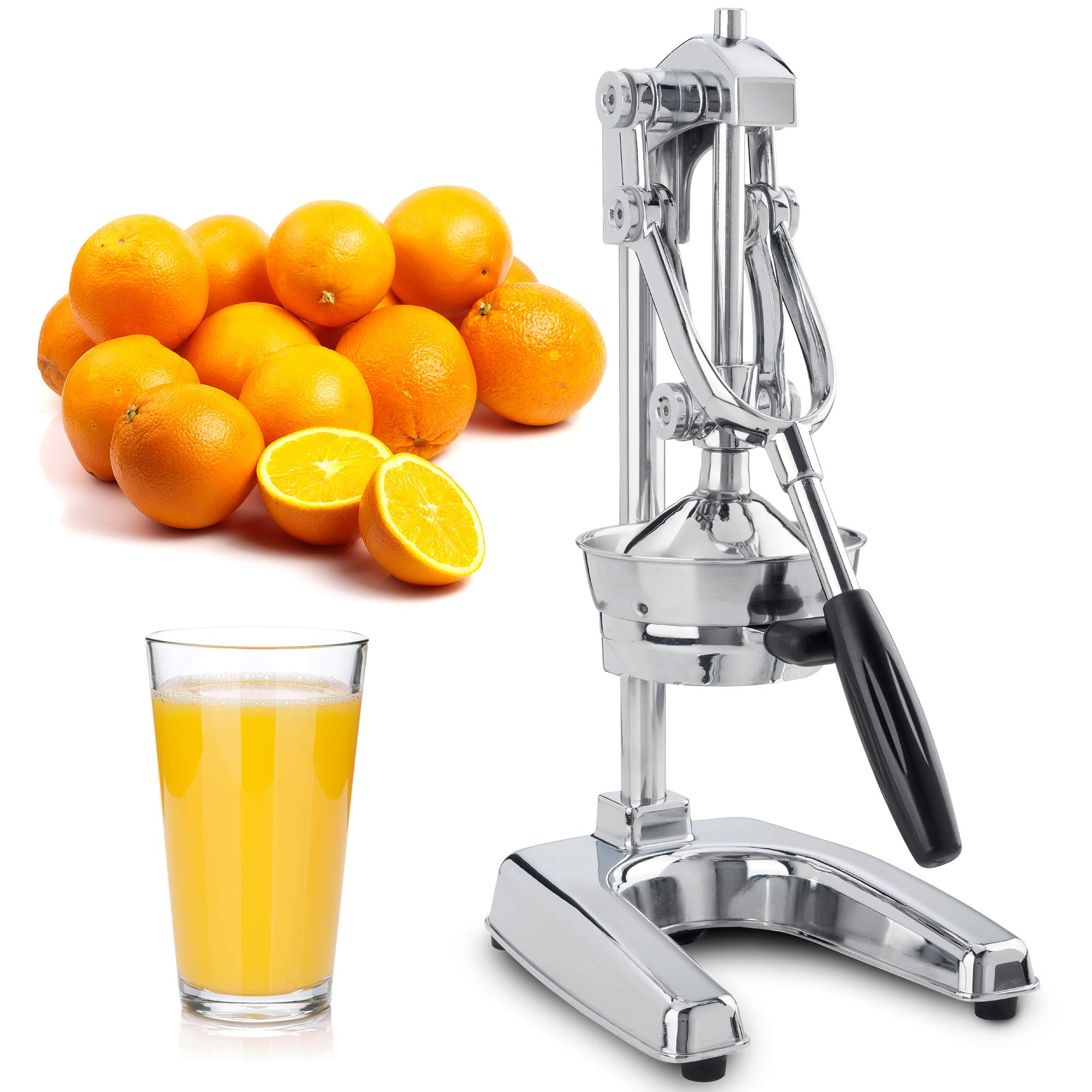 Zulay Professional Citrus Juicer - Chrome Finish Manual Citrus Press and Orange Squeezer - Metal Lemon Squeezer - Extra Tall Heavy Duty Manual Orange Juicer and Lime Squeezer Press Stand by Zulay Kitchen