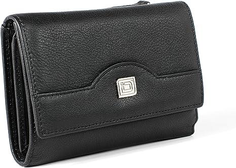 Ladies Leather Trifold Wallet Navy Colour Credit Card Cash ID Zip /& Open Pkts