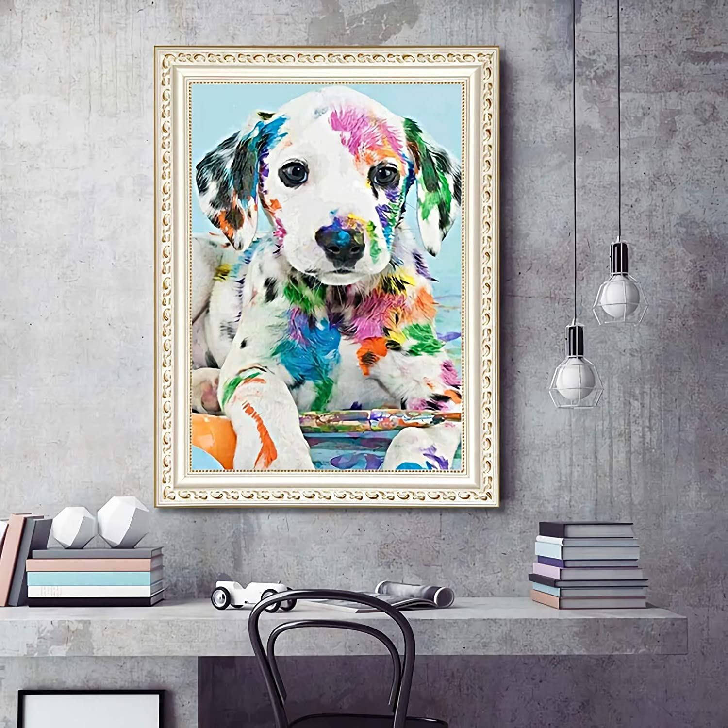 15.74x19.68 5D Diamond Dotz Painting Soft Feeling Canvas Lovely Papillon Dog Full AB Round Drill-Kits for Adults DIY Mosaic Cross Stitch Pattern Handmade Embroidery Picture Kits Wall D/écor-40x50cm