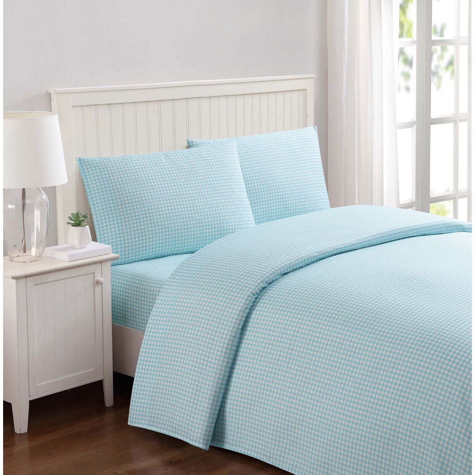 Truly Soft Everyday Printed Gingham Sheet Set, Full, Aqua