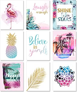 Outus Set of 9 Teen Girl Room Wall Art Inspirational Prints Pineapple Leaf Motivational Phrases Posters Girls Bedroom Home Decorations Unframed