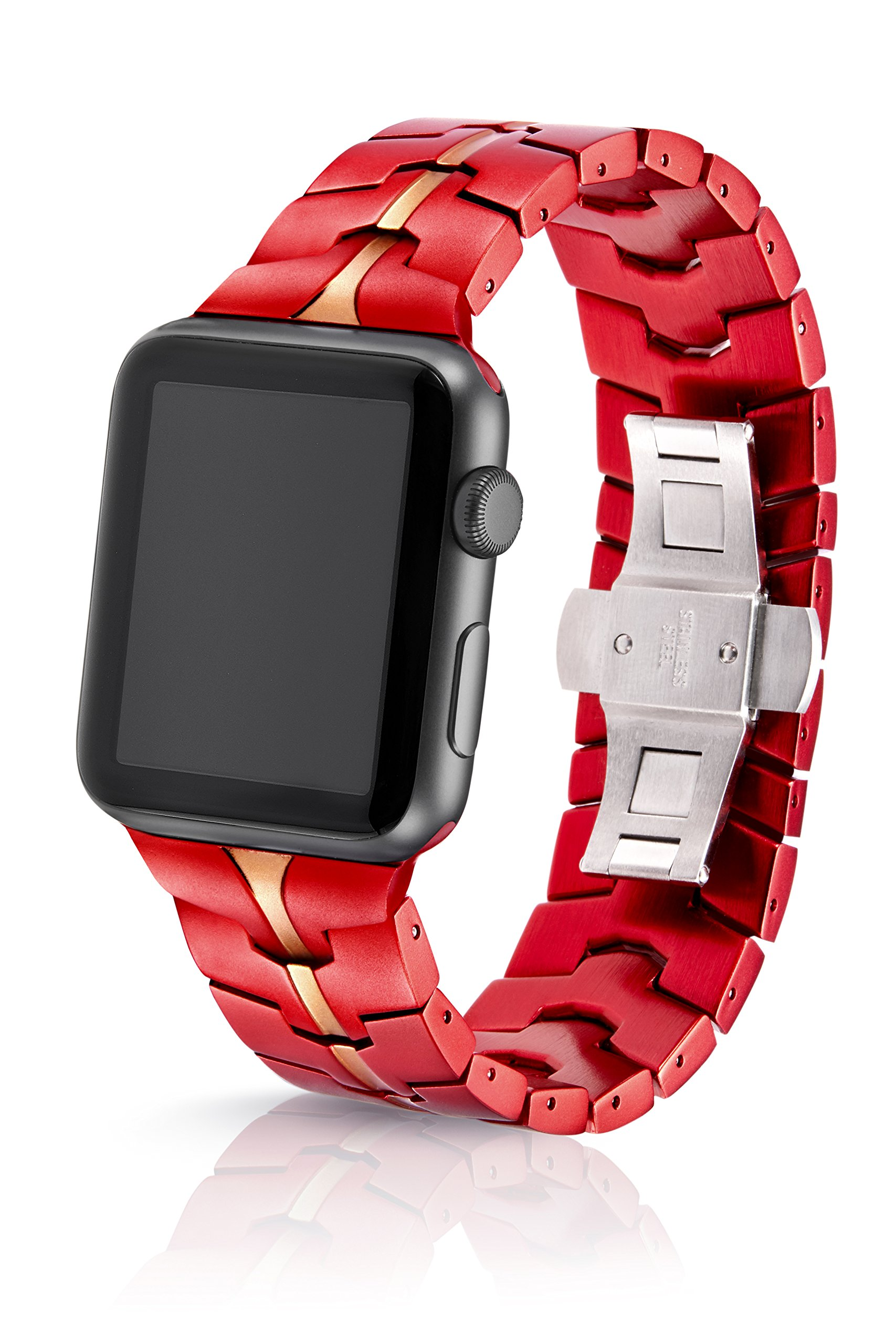 42/44mm JUUK Crimson Vitero Premium Watch Band Made for The Apple Watch, Using Aircraft Grade, Hard Anodized 6000 Series Aluminum with a Solid Stainless Steel Butterfly deployant Buckle (Matte)