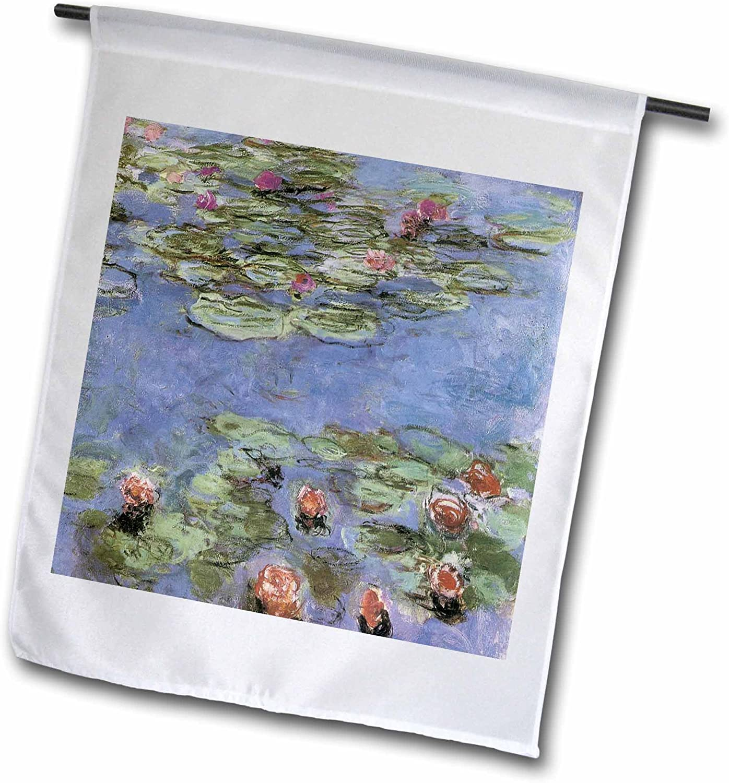 3dRose fl_164644_1 Water Lilies Vintage Monet Garden Flag, 12 by 18-Inch