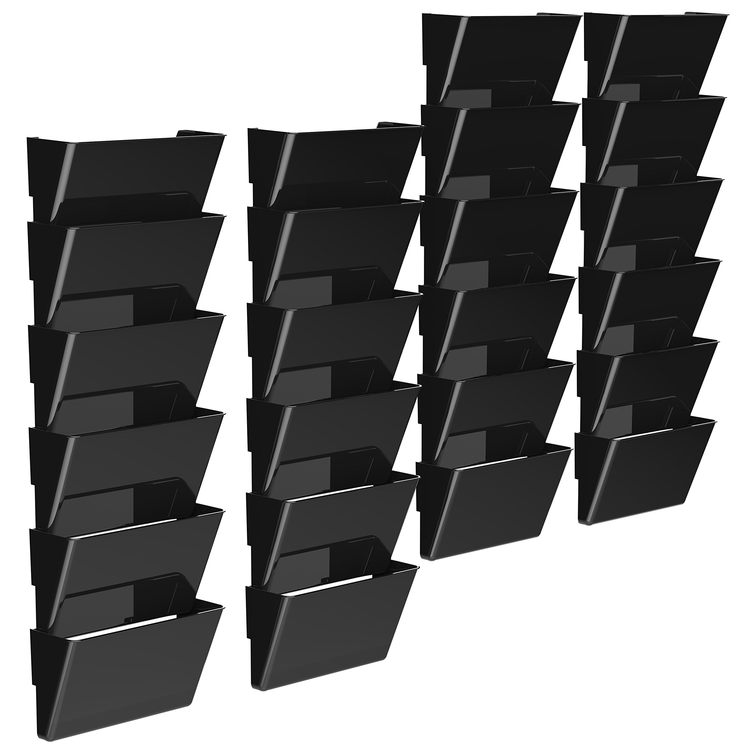 Storex Recycled Wall Files, 13 x 7 x 4 Inches Each, Letter, Black, Case of 4 6-Packs (70216B04C) by Storex
