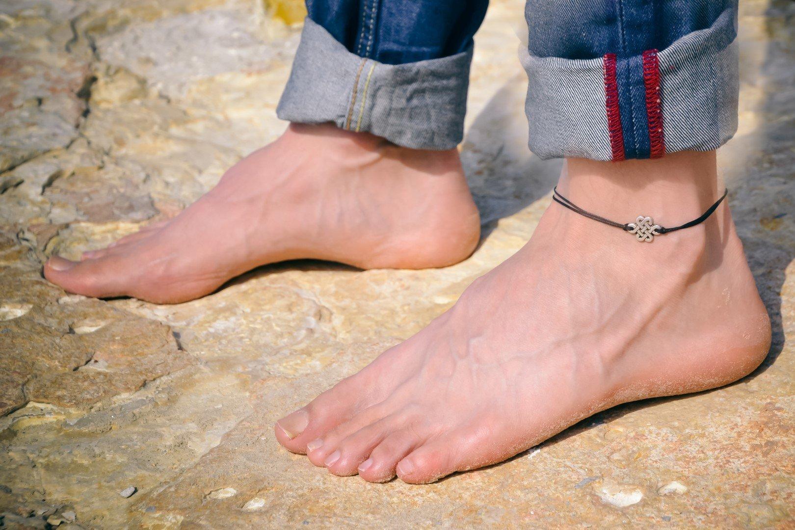 Infinity anklet for men, men's ankle bracelet with silver celtic knot charm, black cord, anklet for men, gift for him, chinese endless knot