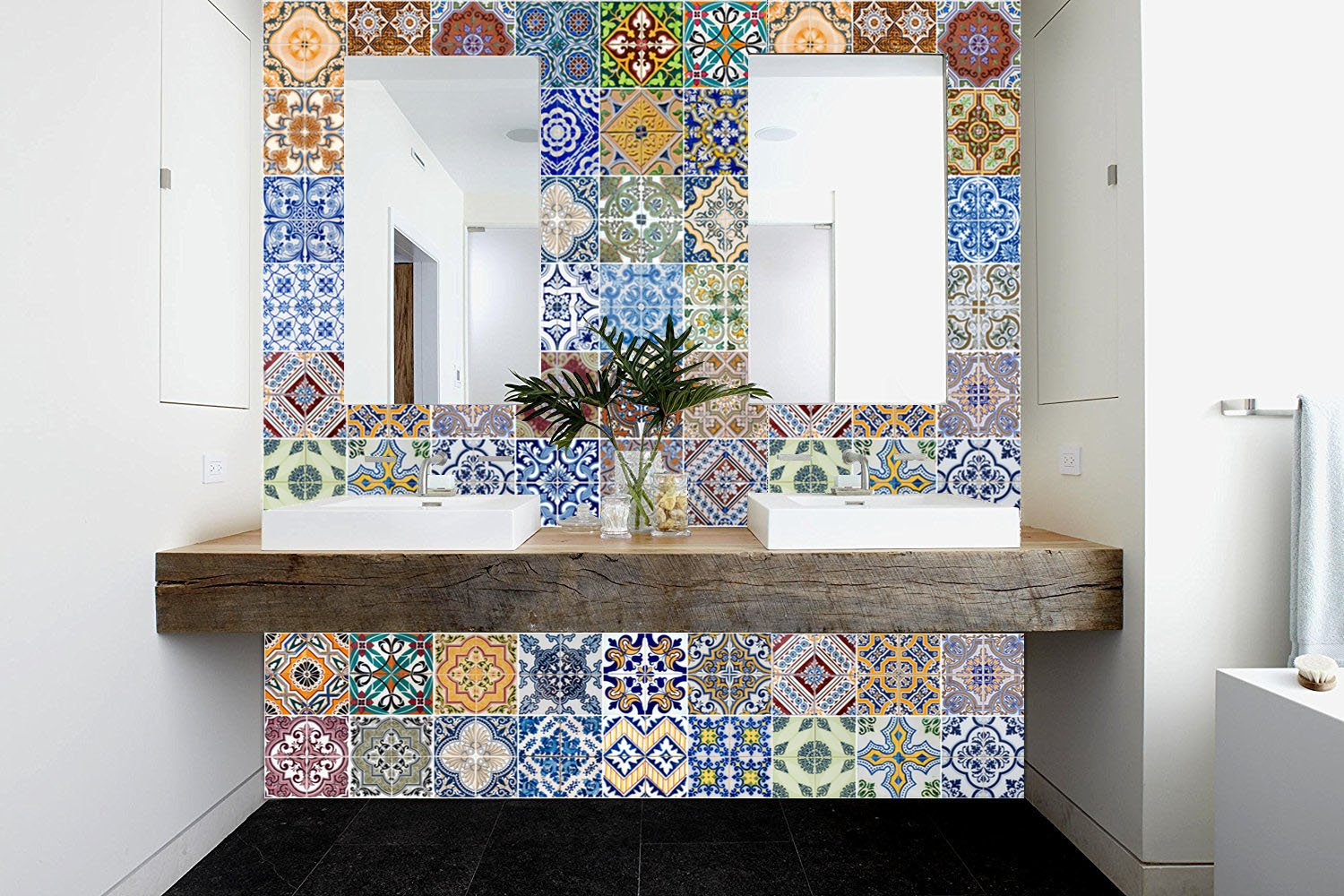 FLFK 48 Units Mexican Talavera Peel & Stick Vinyl Adhesive Tile Stickers for Kitchen and Bathroom Backsplash Decal 7.87x7.87 Inch (20x20cm) by FLFK (Image #1)