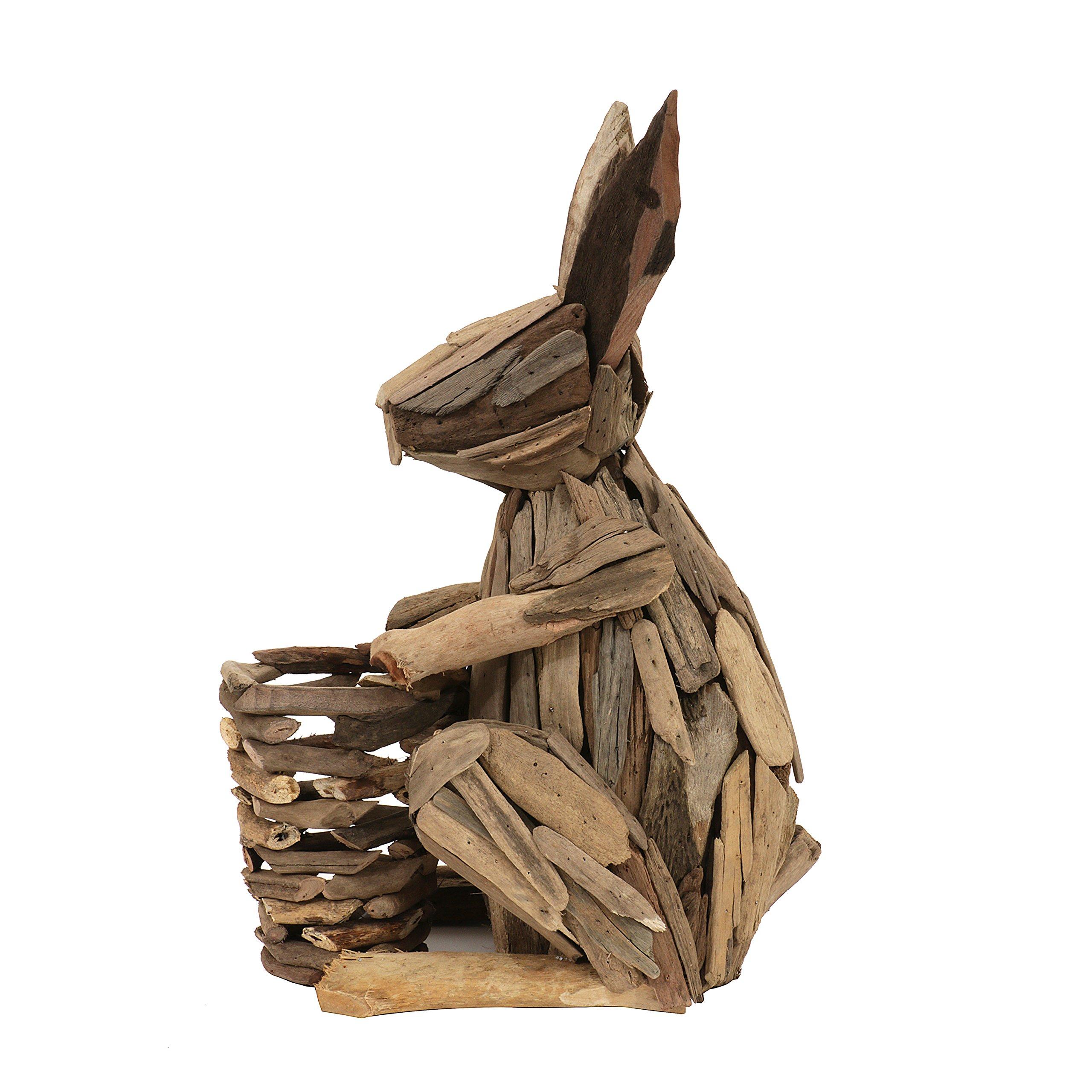 Creative Co-Op DA7166 Driftwood Rabbit with Basket